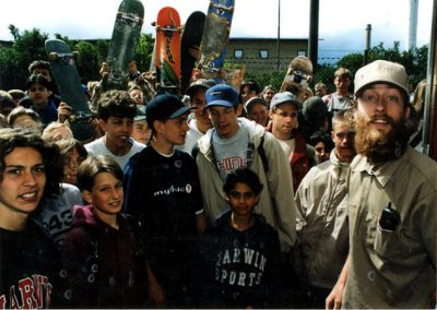 Eager skaters on opening day, 1998. Photo Nils Svensson.
